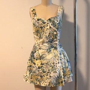 Sweet Vintage Floral Printed Dress/ Bathing Suit